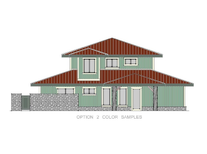 Beach Front Home Elevation Green and Red