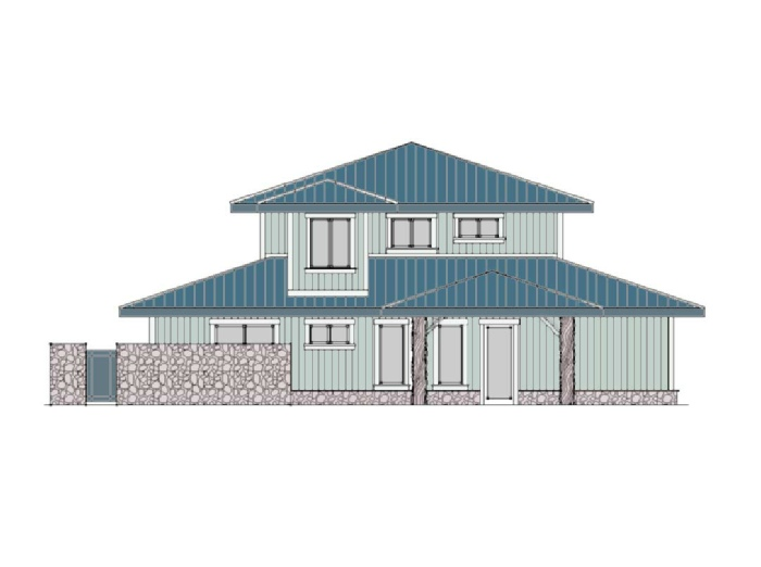 Beach Front Home Elevation Grey and Blue